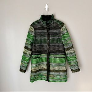 Andrew Marc Neon Green and Leather Woven Coat